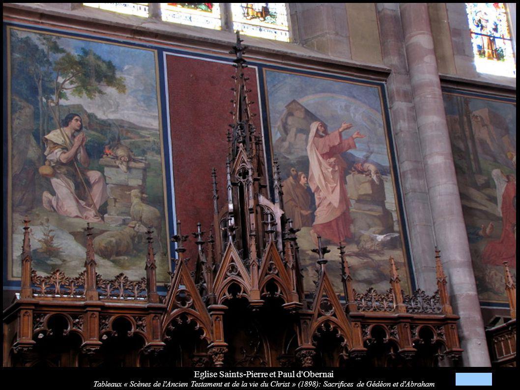 Eglise Saints-Pierre et Paul d'Obernai Tableaux « Scènes de l'Ancien Testament et de la vie du Christ » (1898): Sacrifices de Gédéon et d'Abraham