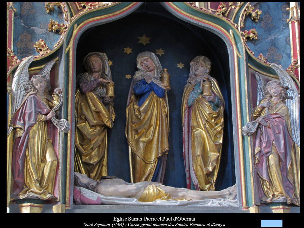 Eglise Saints-Pierre et Paul d'Obernai Saint-Sépulcre (1504) : Christ gisant entouré des Saintes-Femmes et d'anges