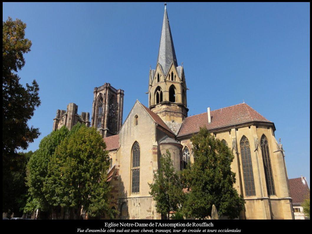 Eglise Notre-Dame de l'Assomption de Rouffach Vue d'ensemble côté sud-est avec chevet, transept, tour de croisée et tours occidentales