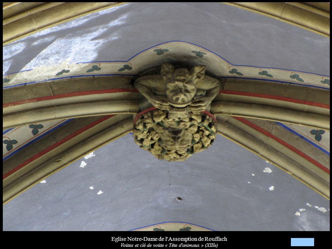 Eglise Notre-Dame de l'Assomption de Rouffach Voûtes et clé de voûte « Tête d'animaux » (XIIIe)