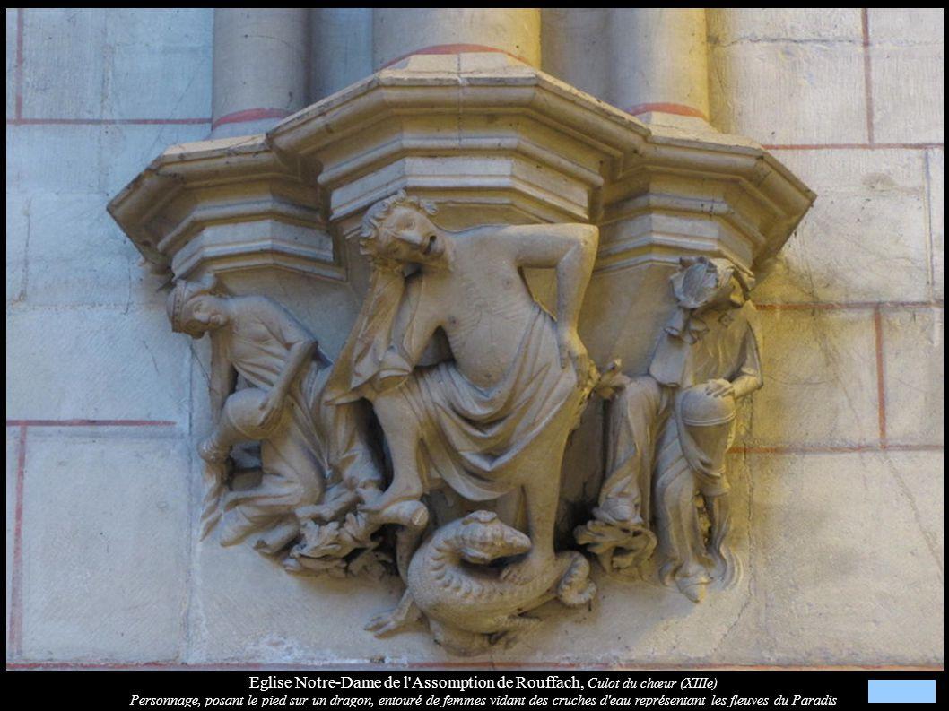 Eglise Notre-Dame de l'Assomption de Rouffach, Culot du chœur (XIIIe) Personnage, posant le pied sur un dragon, entouré de femmes vidant des cruches d