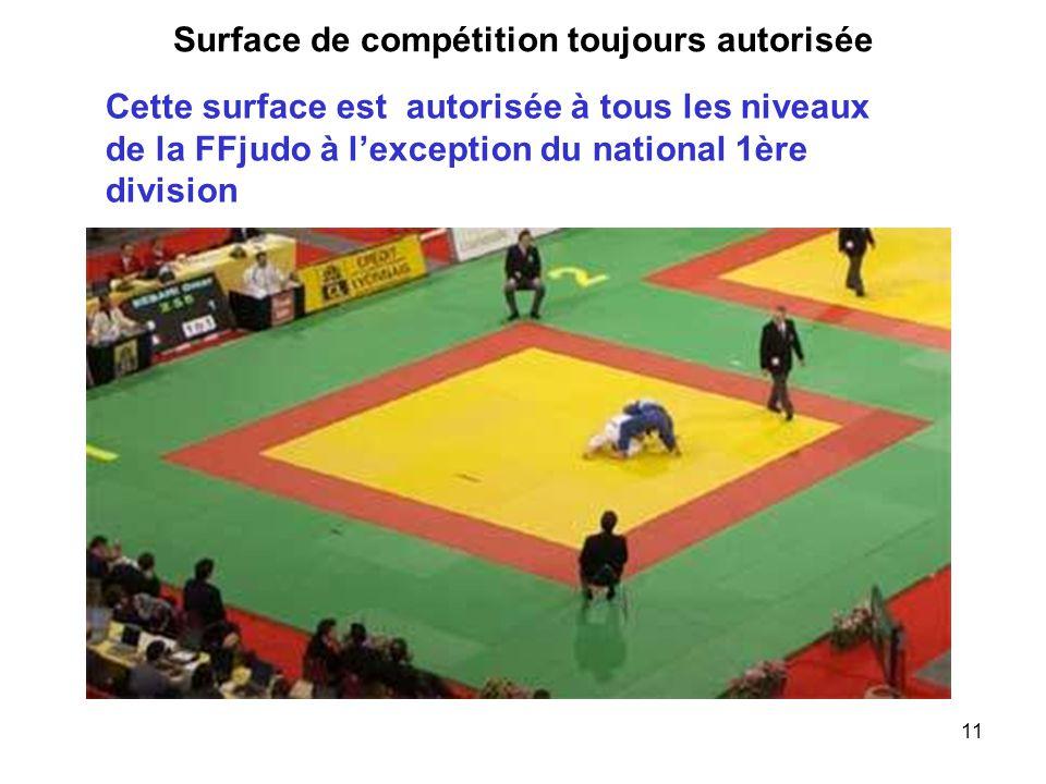 11 Surface de compétition toujours autorisée Cette surface est autorisée à tous les niveaux de la FFjudo à l'exception du national 1ère division
