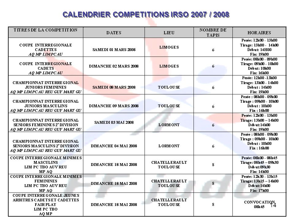 14 CALENDRIER COMPETITIONS IRSO 2007 / 2008