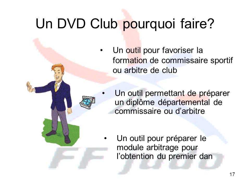 17 Un DVD Club pourquoi faire? Un outil pour favoriser la formation de commissaire sportif ou arbitre de club Un outil pour préparer le module arbitra