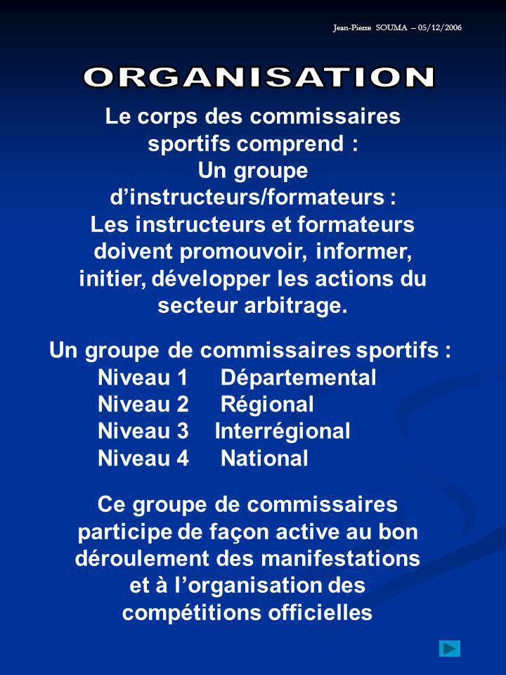 Le corps des commissaires sportifs comprend : Un groupe d'instructeurs/formateurs : Les instructeurs et formateurs doivent promouvoir, informer, initier, développer les actions du secteur arbitrage.