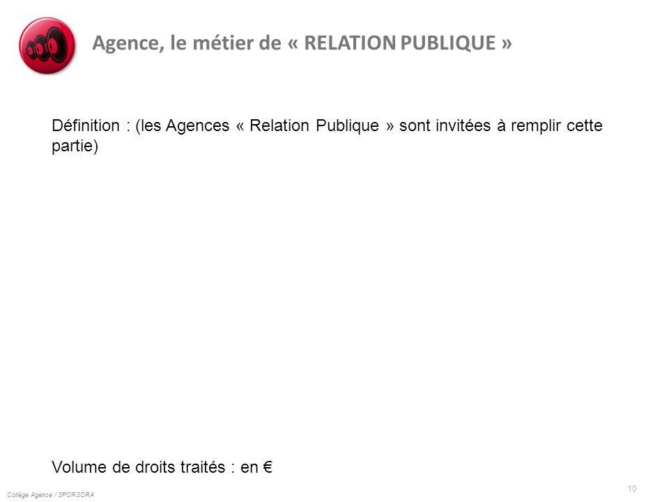 Collège Agence / SPORSORA 10 Agence, le métier de « RELATION PUBLIQUE » Définition : (les Agences « Relation Publique » sont invitées à remplir cette