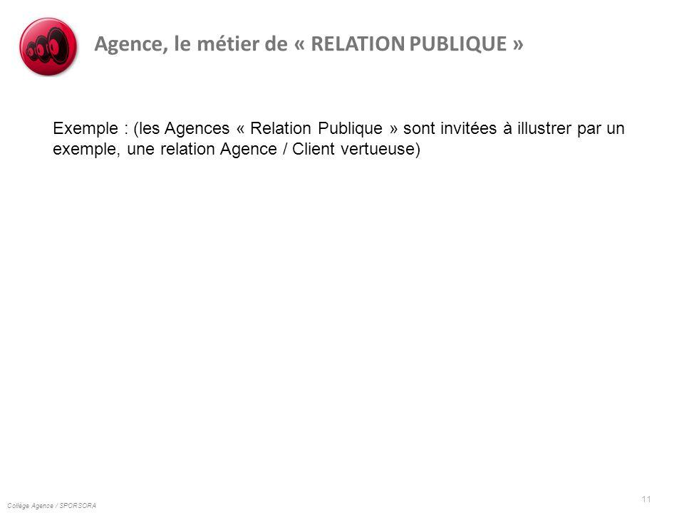 Collège Agence / SPORSORA 11 Agence, le métier de « RELATION PUBLIQUE » Exemple : (les Agences « Relation Publique » sont invitées à illustrer par un