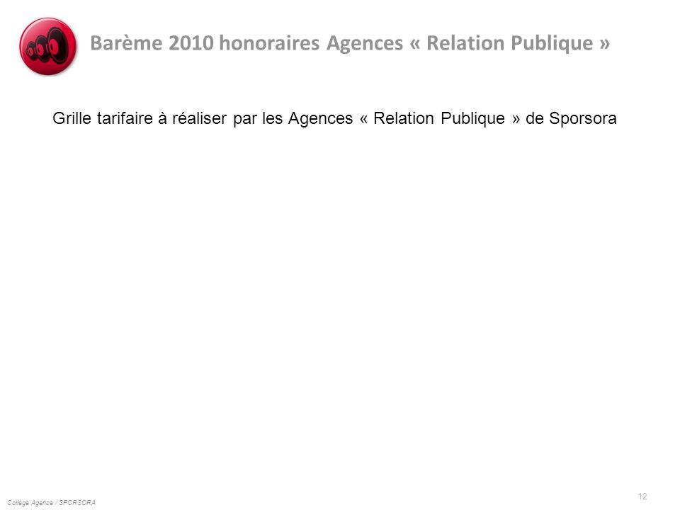Collège Agence / SPORSORA 12 Barème 2010 honoraires Agences « Relation Publique » Grille tarifaire à réaliser par les Agences « Relation Publique » de