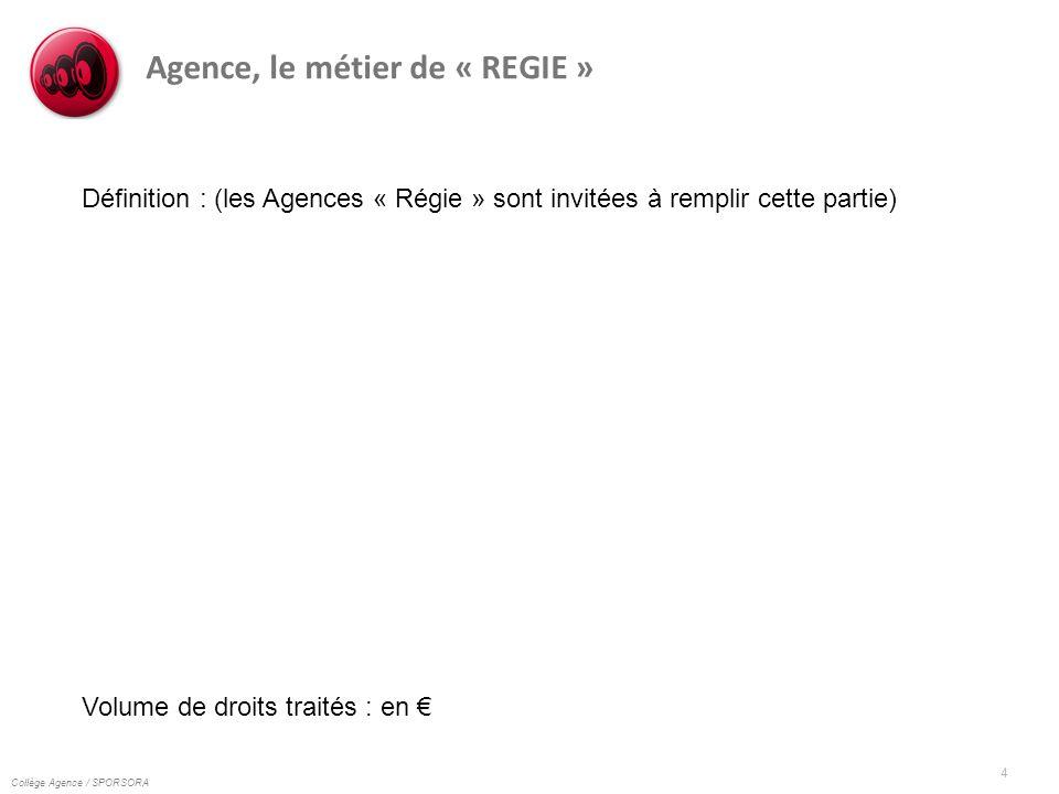 Collège Agence / SPORSORA 4 Agence, le métier de « REGIE » Définition : (les Agences « Régie » sont invitées à remplir cette partie) Volume de droits