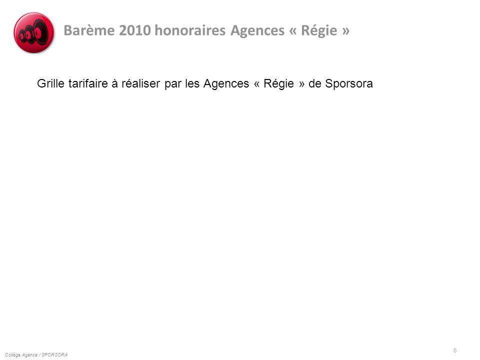 Collège Agence / SPORSORA 6 Barème 2010 honoraires Agences « Régie » Grille tarifaire à réaliser par les Agences « Régie » de Sporsora