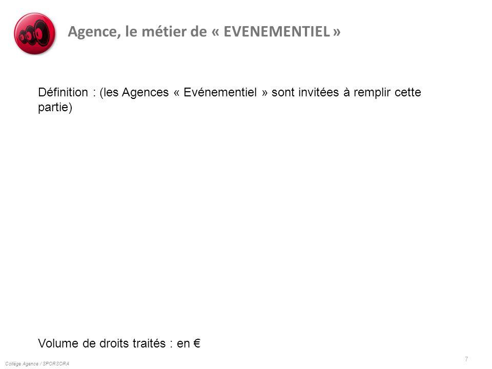 Collège Agence / SPORSORA 7 Agence, le métier de « EVENEMENTIEL » Définition : (les Agences « Evénementiel » sont invitées à remplir cette partie) Vol