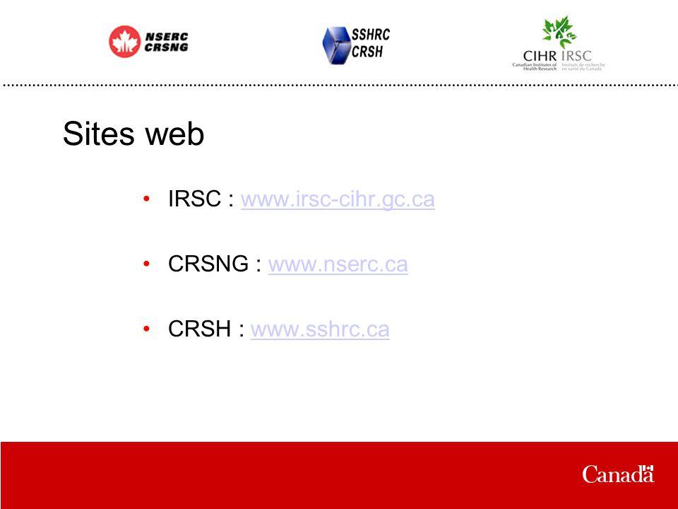 Sites web IRSC : www.irsc-cihr.gc.cawww.irsc-cihr.gc.ca CRSNG : www.nserc.cawww.nserc.ca CRSH : www.sshrc.cawww.sshrc.ca