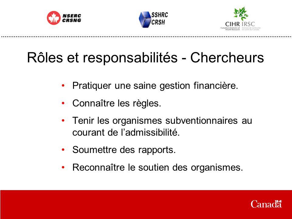 Rôles et responsabilités - Chercheurs Pratiquer une saine gestion financière.
