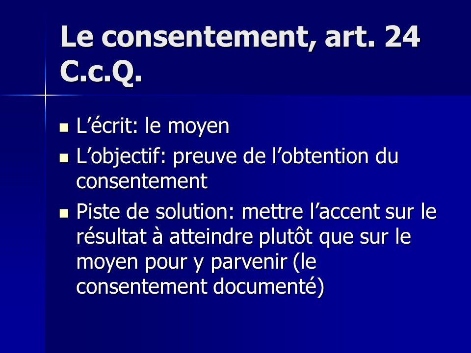 Le consentement, art.24 C.c.Q.