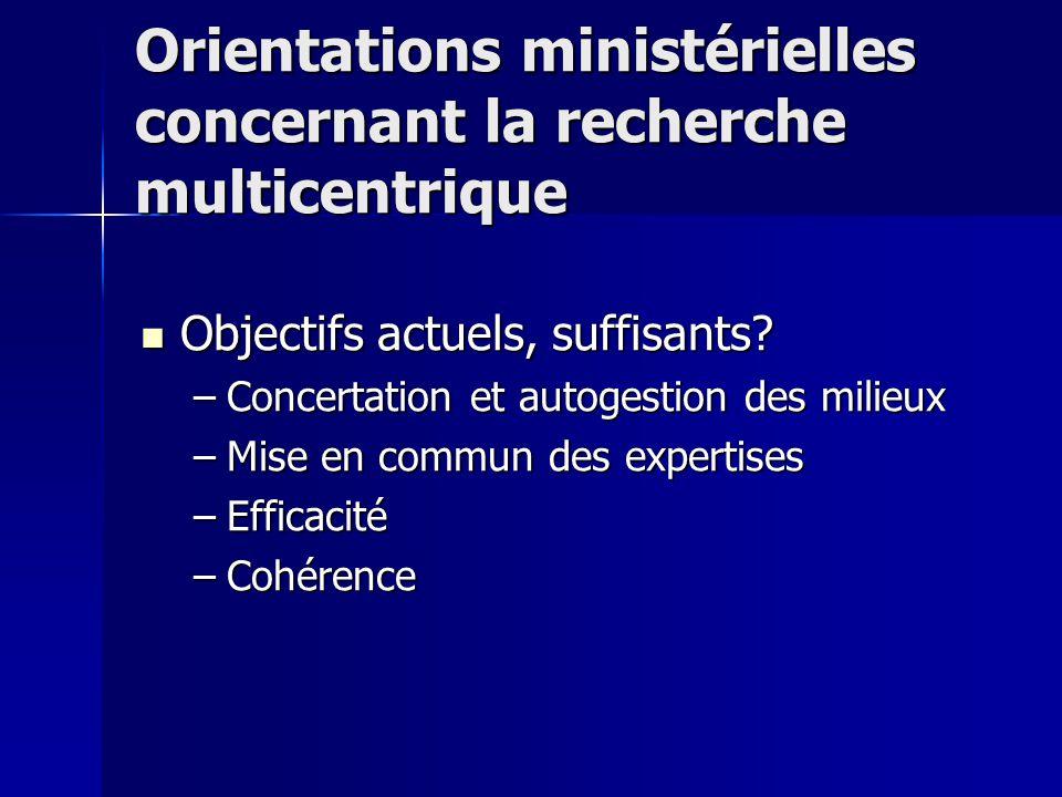 Orientations ministérielles concernant la recherche multicentrique Objectifs actuels, suffisants.