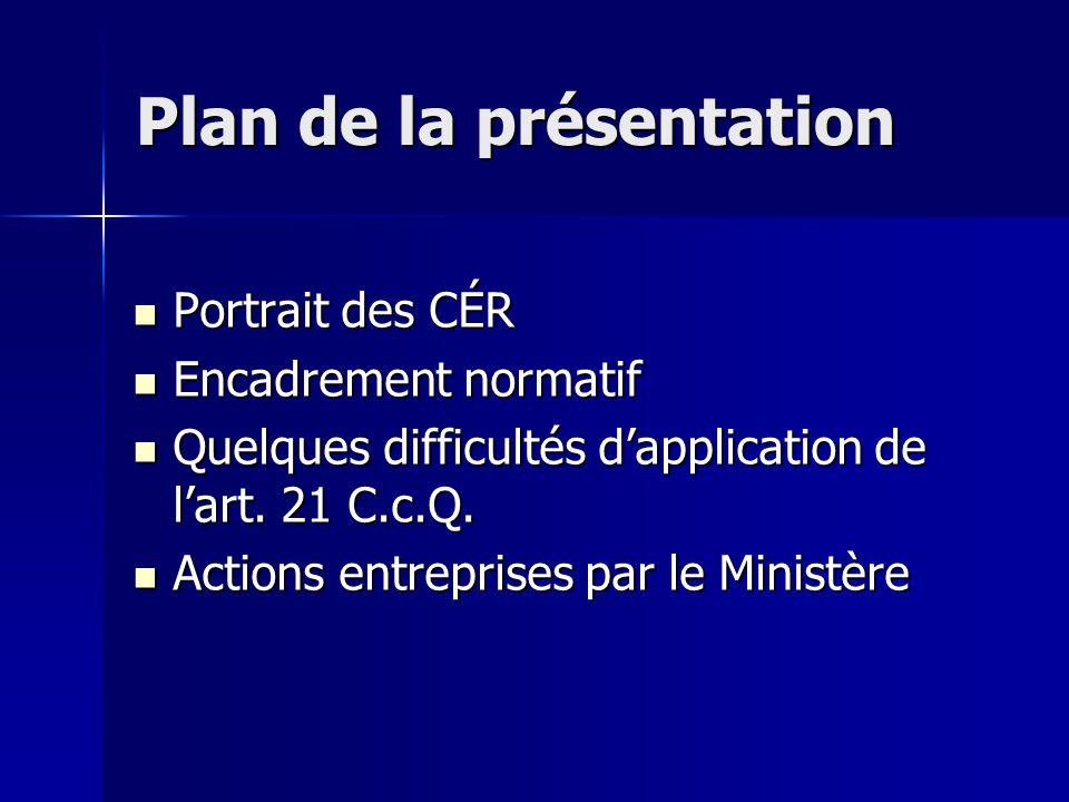 Plan de la présentation Portrait des CÉR Portrait des CÉR Encadrement normatif Encadrement normatif Quelques difficultés d'application de l'art.