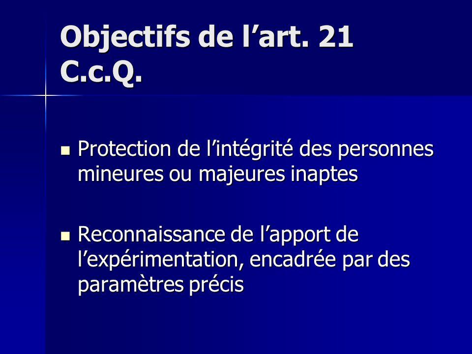 Objectifs de l'art. 21 C.c.Q.