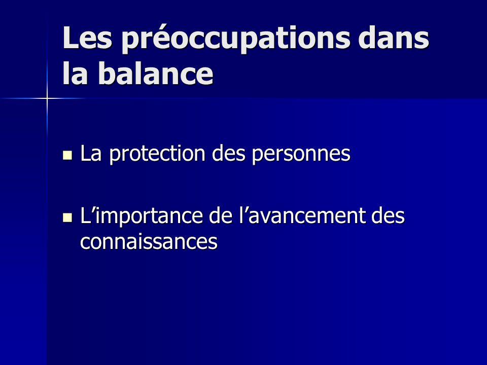 Les préoccupations dans la balance La protection des personnes La protection des personnes L'importance de l'avancement des connaissances L'importance de l'avancement des connaissances