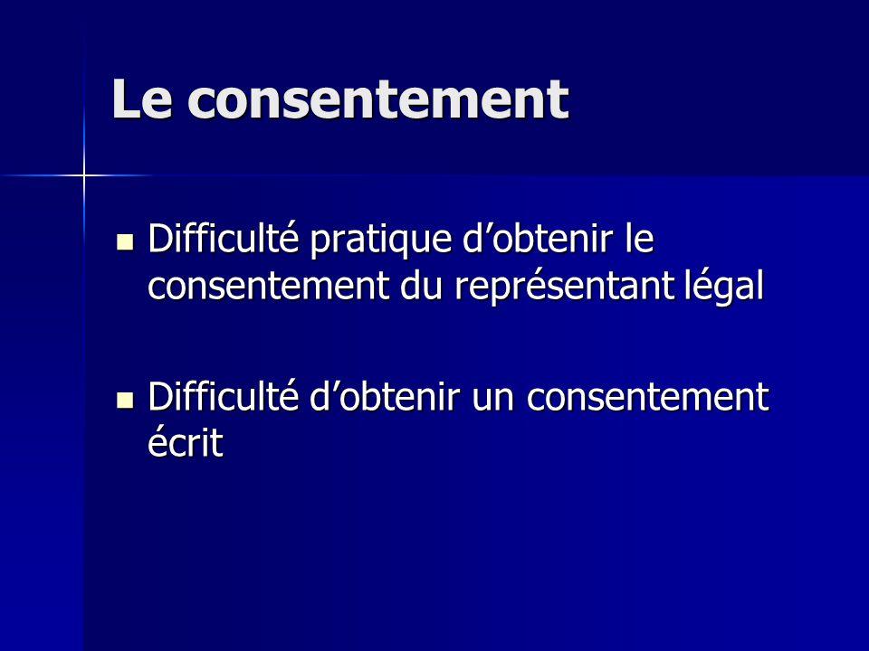 Le consentement Difficulté pratique d'obtenir le consentement du représentant légal Difficulté pratique d'obtenir le consentement du représentant légal Difficulté d'obtenir un consentement écrit Difficulté d'obtenir un consentement écrit