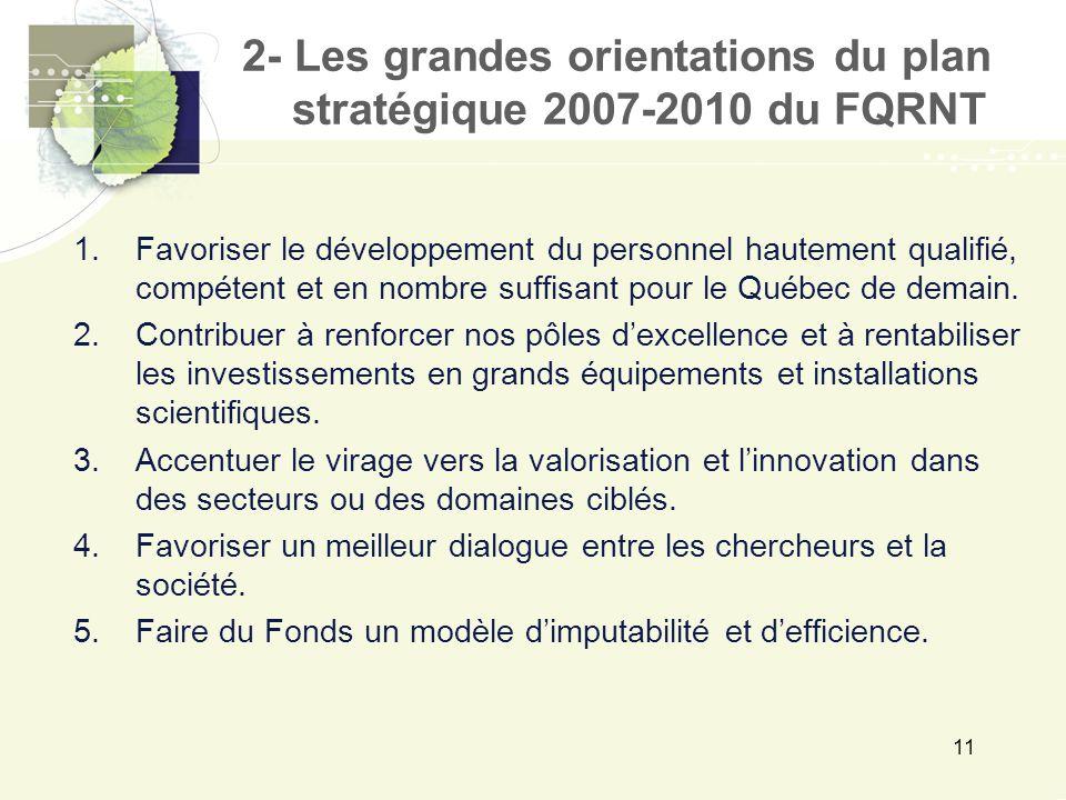11 1.Favoriser le développement du personnel hautement qualifié, compétent et en nombre suffisant pour le Québec de demain.