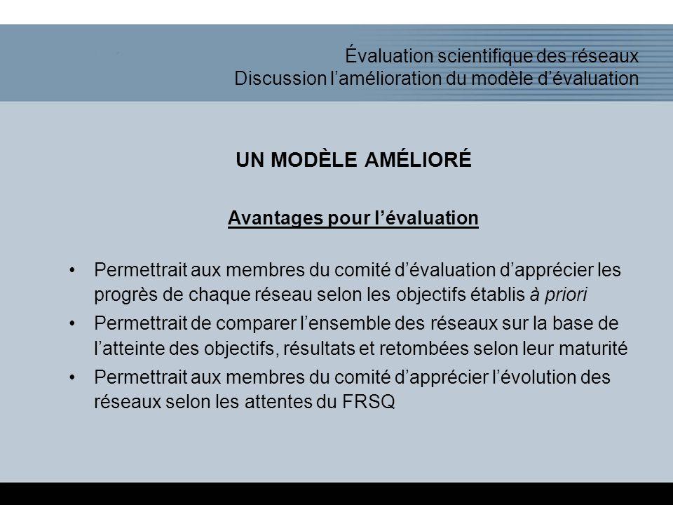 Click to add title of the presentation Évaluation scientifique des réseaux Discussion l'amélioration du modèle d'évaluation UN MODÈLE AMÉLIORÉ Avantages pour l'évaluation Permettrait aux membres du comité d'évaluation d'apprécier les progrès de chaque réseau selon les objectifs établis à priori Permettrait de comparer l'ensemble des réseaux sur la base de l'atteinte des objectifs, résultats et retombées selon leur maturité Permettrait aux membres du comité d'apprécier l'évolution des réseaux selon les attentes du FRSQ