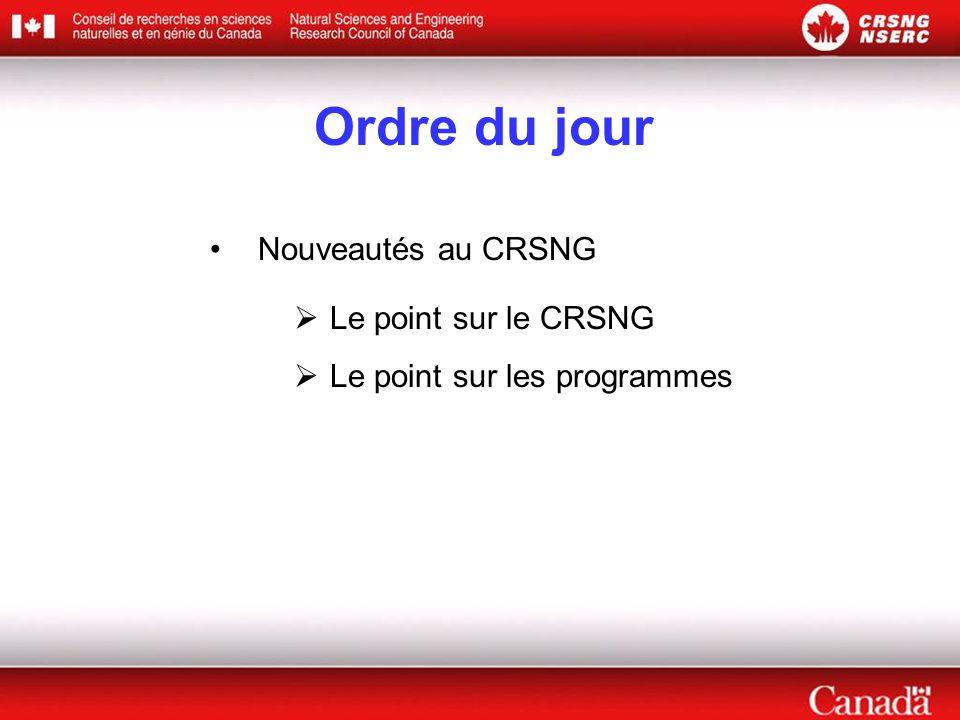 Le point sur le CRSNG Nouvelle présidente Nouvelles sur le budget fédéral Réaffectation des fonds Nouveau mécanisme d'affectation Bureaux régionaux du CRSNG