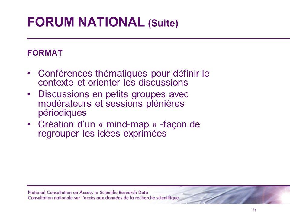 11 FORUM NATIONAL (Suite) FORMAT Conférences thématiques pour définir le contexte et orienter les discussions Discussions en petits groupes avec modérateurs et sessions plénières périodiques Création d'un « mind-map » -façon de regrouper les idées exprimées