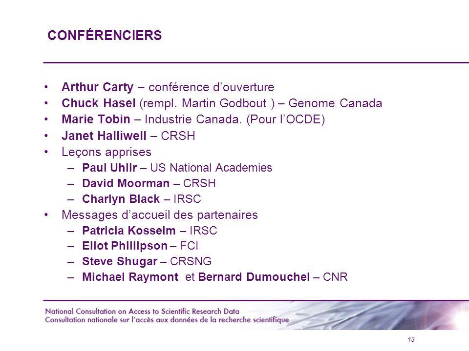 13 CONFÉRENCIERS Arthur Carty – conférence d'ouverture Chuck Hasel (rempl.