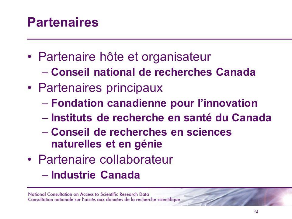 14 Partenaires Partenaire hôte et organisateur –Conseil national de recherches Canada Partenaires principaux –Fondation canadienne pour l'innovation –Instituts de recherche en santé du Canada –Conseil de recherches en sciences naturelles et en génie Partenaire collaborateur –Industrie Canada