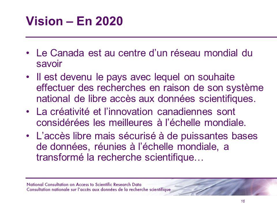 16 Vision – En 2020 Le Canada est au centre d'un réseau mondial du savoir Il est devenu le pays avec lequel on souhaite effectuer des recherches en raison de son système national de libre accès aux données scientifiques.