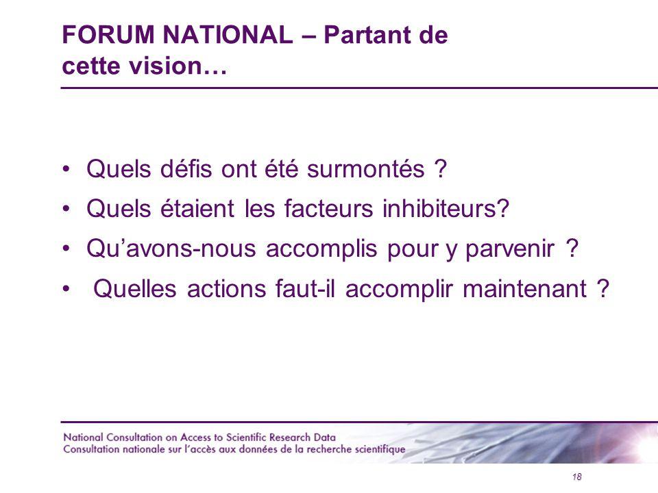 18 FORUM NATIONAL – Partant de cette vision… Quels défis ont été surmontés .