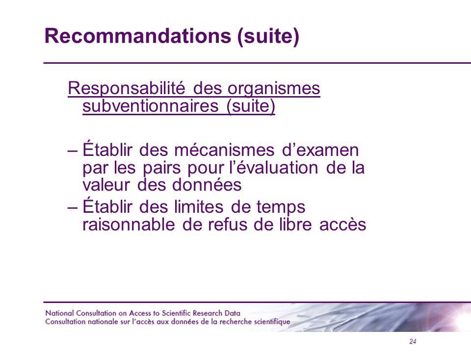24 Recommandations (suite) Responsabilité des organismes subventionnaires (suite) –Établir des mécanismes d'examen par les pairs pour l'évaluation de la valeur des données –Établir des limites de temps raisonnable de refus de libre accès