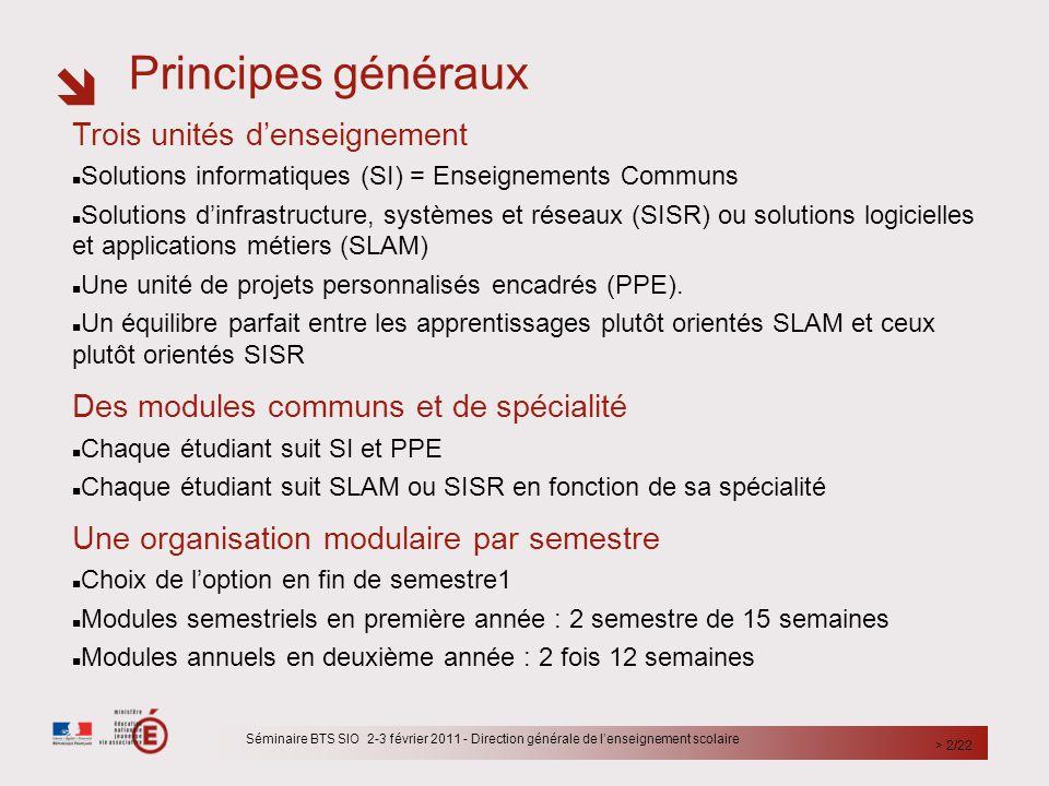  Principes généraux Séminaire BTS SIO 2-3 février 2011 - Direction générale de l'enseignement scolaire > 2/22 Trois unités d'enseignement Solutions i