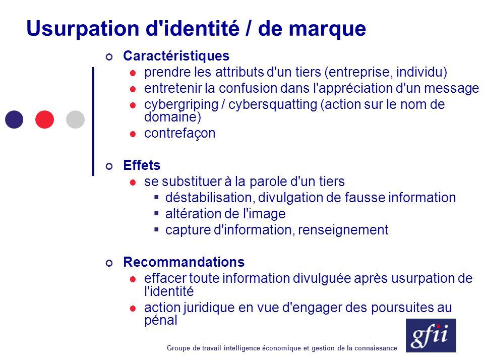 Groupe de travail intelligence économique et gestion de la connaissance Usurpation d'identité / de marque Caractéristiques prendre les attributs d'un