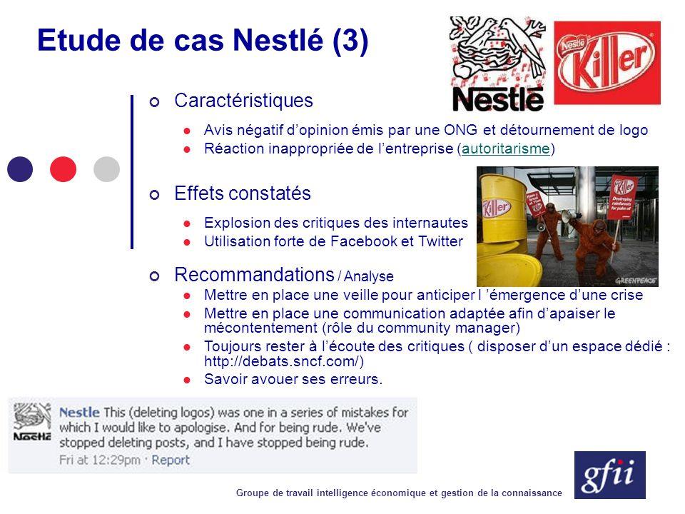 Groupe de travail intelligence économique et gestion de la connaissance Etude de cas Nestlé (3) Caractéristiques Avis négatif d'opinion émis par une O