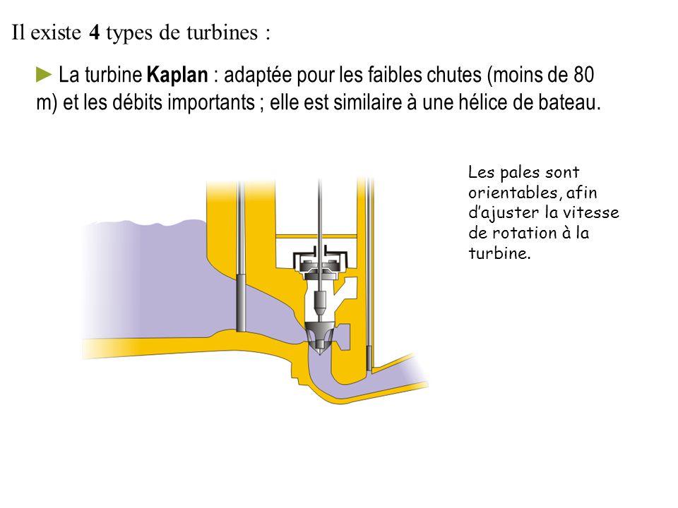►La turbine Kaplan : adaptée pour les faibles chutes (moins de 80 m) et les débits importants ; elle est similaire à une hélice de bateau. Les pales s