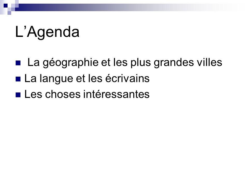 L'Agenda La géographie et les plus grandes villes La langue et les écrivains Les choses intéressantes