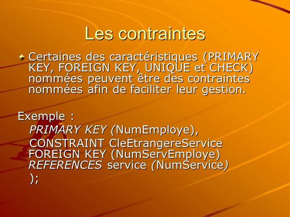 Les contraintes Certaines des caractéristiques (PRIMARY KEY, FOREIGN KEY, UNIQUE et CHECK) nommées peuvent être des contraintes nommées afin de faciliter leur gestion.