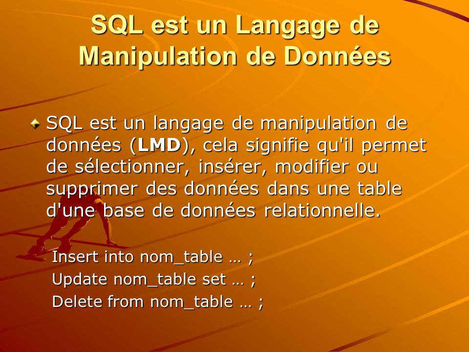SQL est un Langage de Manipulation de Données SQL est un langage de manipulation de données (LMD), cela signifie qu il permet de sélectionner, insérer, modifier ou supprimer des données dans une table d une base de données relationnelle.
