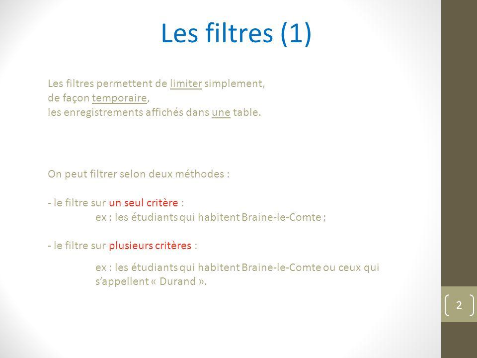 Les filtres (2) à un seul critère 1.on se positionne sur l enregistrement d un client habitant Paris, 2.on sélectionne le mot 'Paris' dans le champ 'Ville' ; 3.on clique sur l'icône de filtre ; et voilà… 4.pour revenir à un affichage non filtré, on clique sur l'icône ; et nous voilà comme avant… 3
