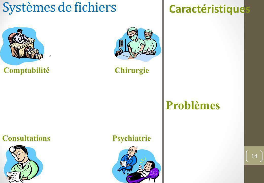 Systèmes de fichiers Caractéristiques 14 Chirurgie Psychiatrie Comptabilité Consultations Problèmes