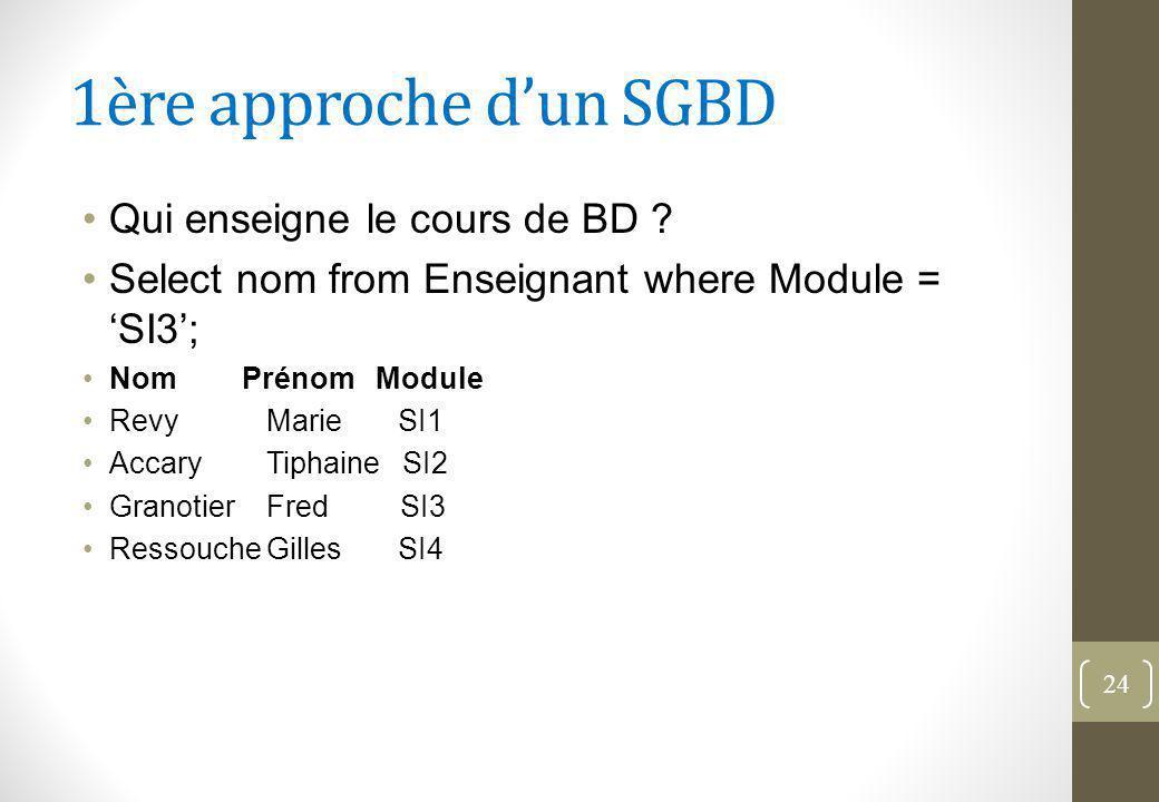 1ère approche d'un SGBD Qui enseigne le cours de BD .