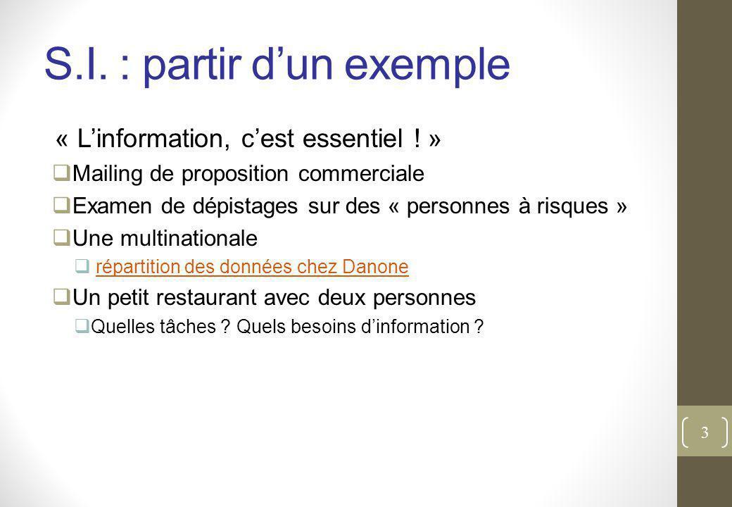 S.I.: partir d'un exemple « L'information, c'est essentiel .