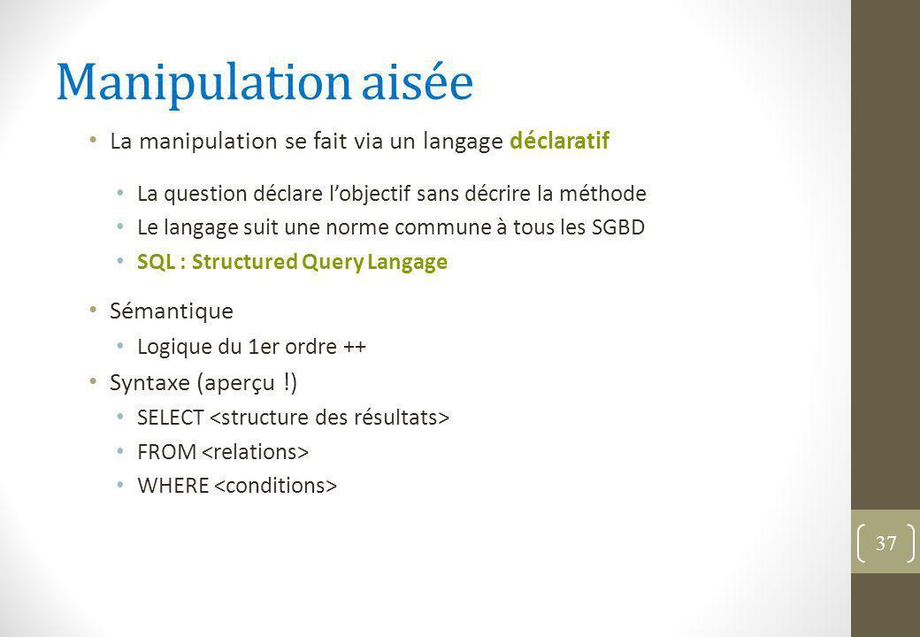 Manipulation aisée La manipulation se fait via un langage déclaratif La question déclare l'objectif sans décrire la méthode Le langage suit une norme commune à tous les SGBD SQL : Structured Query Langage Sémantique Logique du 1er ordre ++ Syntaxe (aperçu !) SELECT FROM WHERE 37