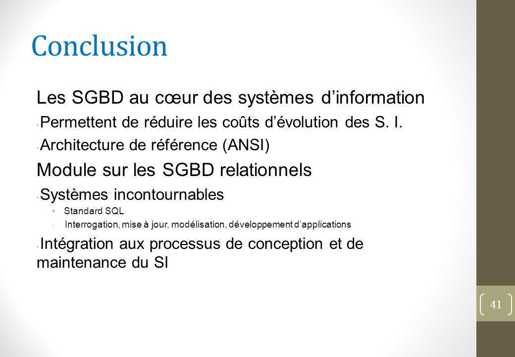 Conclusion Les SGBD au cœur des systèmes d'information Permettent de réduire les coûts d'évolution des S.