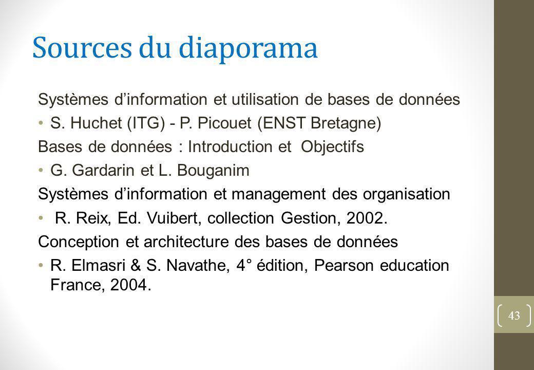 Sources du diaporama Systèmes d'information et utilisation de bases de données S.