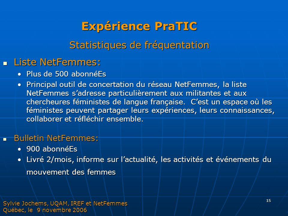 15 Expérience PraTIC Statistiques de fréquentation Liste NetFemmes: Liste NetFemmes: Plus de 500 abonnéEsPlus de 500 abonnéEs Principal outil de conce