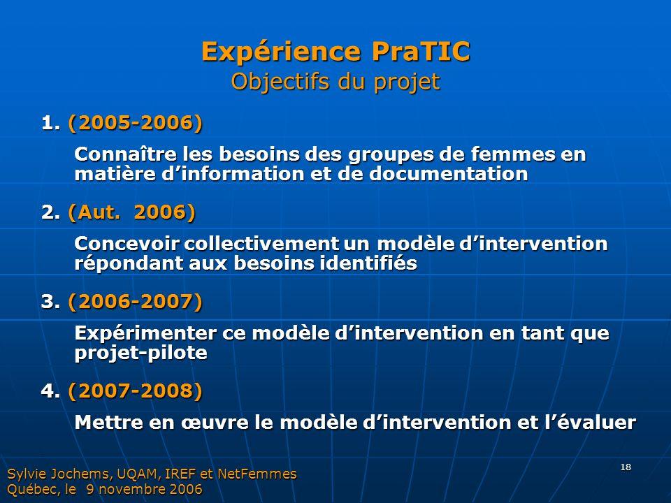 18 Expérience PraTIC Objectifs du projet 1. (2005-2006) Connaître les besoins des groupes de femmes en matière d'information et de documentation 2. (A
