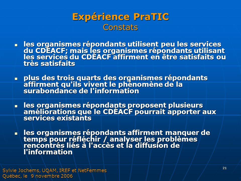 21 Expérience PraTIC Constats les organismes répondants utilisent peu les services du CDÉACF; mais les organismes répondants utilisant les services du