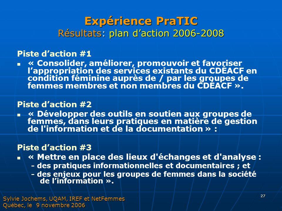 27 Expérience PraTIC Résultats: plan d'action 2006-2008 Piste d'action #1 « Consolider, améliorer, promouvoir et favoriser l'appropriation des service